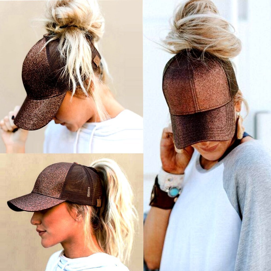 Ponytail Cap Glitter Brown/Coffee ClickClickShip.com