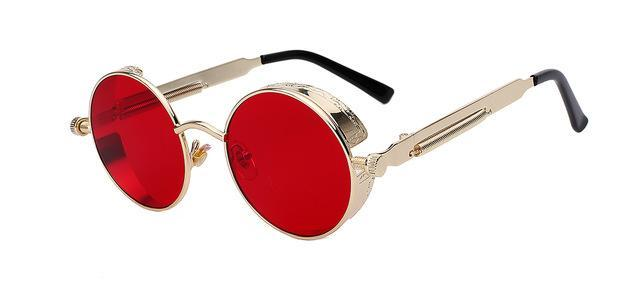 Round Unisex Sunglasses Gold w sea red lens ClickClickShip.com