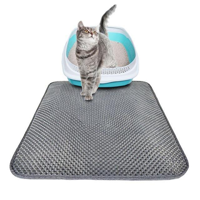 Double-Layer Cat Litter Mat Gray / 55 x 70cm Foldable ClickClickShip.com