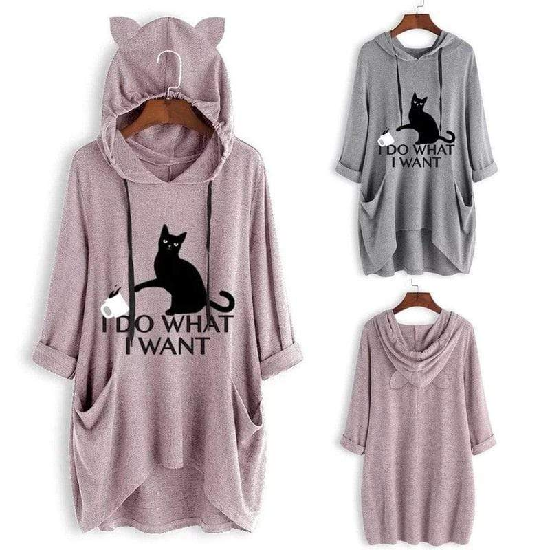 I DO WHAT I WANT Oversize Hoodie With Cat Ears ClickClickShip.com