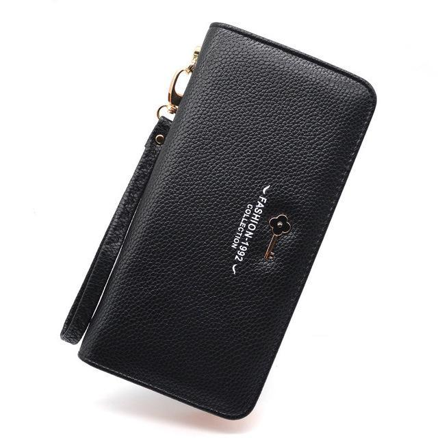 Luxury Long Zipper Purse Key Black ClickClickShip.com