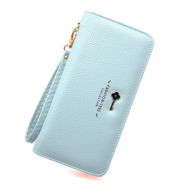 Luxury Long Zipper Purse Key Blue ClickClickShip.com
