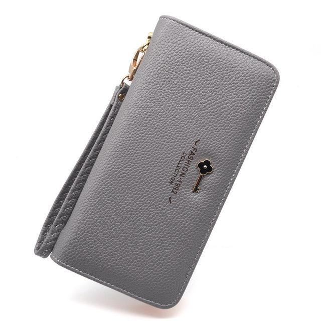 Luxury Long Zipper Purse Key Gray ClickClickShip.com