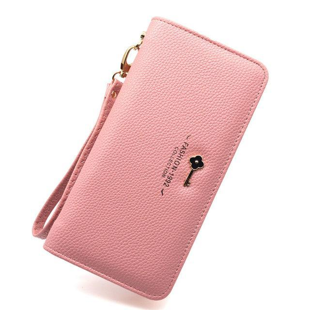 Luxury Long Zipper Purse Key Pink ClickClickShip.com