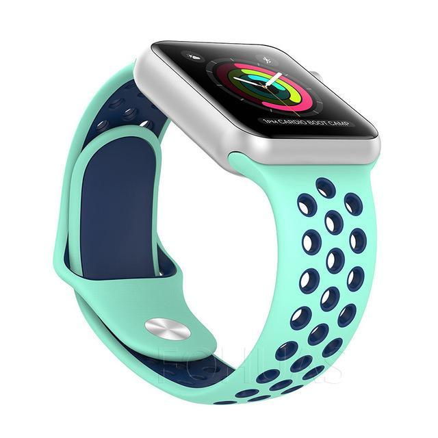 Sport Type Apple Watch Replacement Watch Strap for Apple Watch Bands Series 3 2 1 Mint Blue / 38mm SM ClickClickShip.com