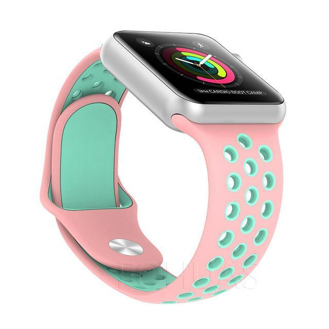 Sport Type Apple Watch Replacement Watch Strap for Apple Watch Bands Series 3 2 1 Pink Green / 38mm SM ClickClickShip.com
