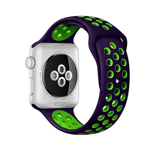 Sport Type Apple Watch Replacement Watch Strap for Apple Watch Bands Series 3 2 1 Purple Green / 38mm SM ClickClickShip.com