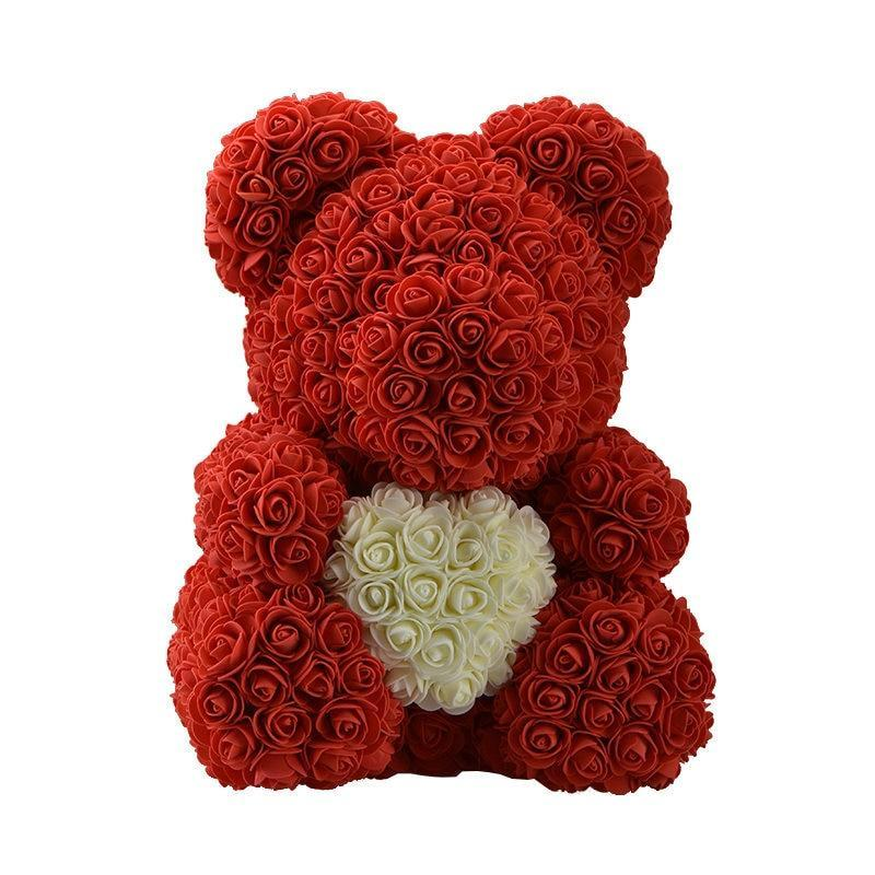 Rose Teddy Bear Red Bear White Heart Large (40cm x 30cm) ClickClickShip.com