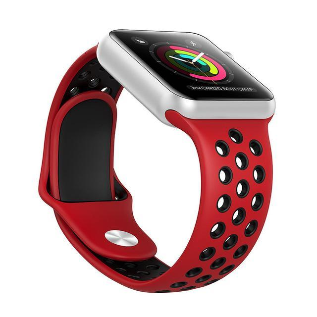 Sport Type Apple Watch Replacement Watch Strap for Apple Watch Bands Series 3 2 1 Red Black / 38mm SM ClickClickShip.com