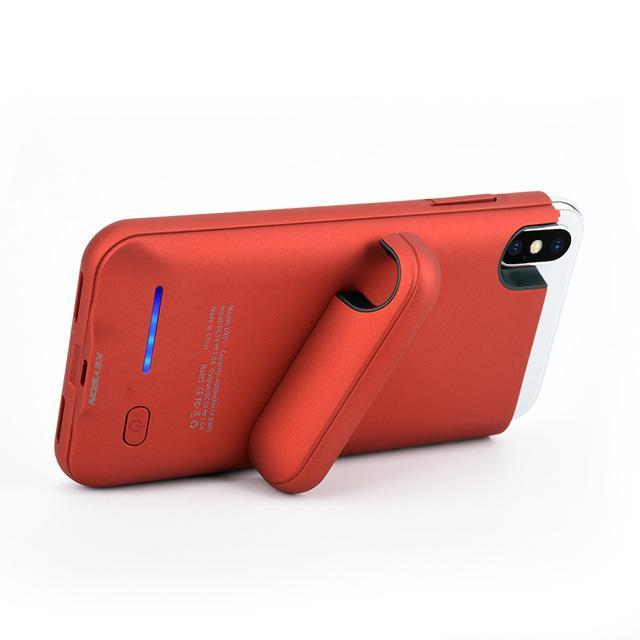 iPhone X Portable Charging Case With Stand Red ClickClickShip.com