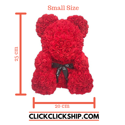 Rose Teddy Bear Red Small (25cm x 20cm) ClickClickShip.com