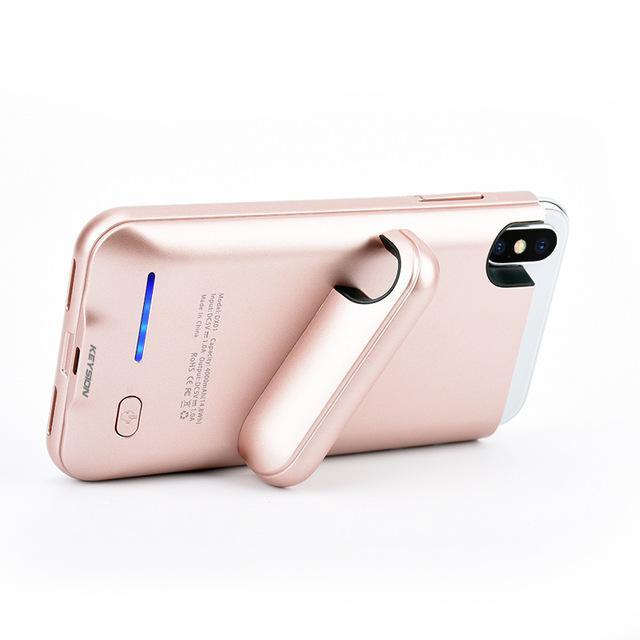 iPhone X Portable Charging Case With Stand Rose ClickClickShip.com