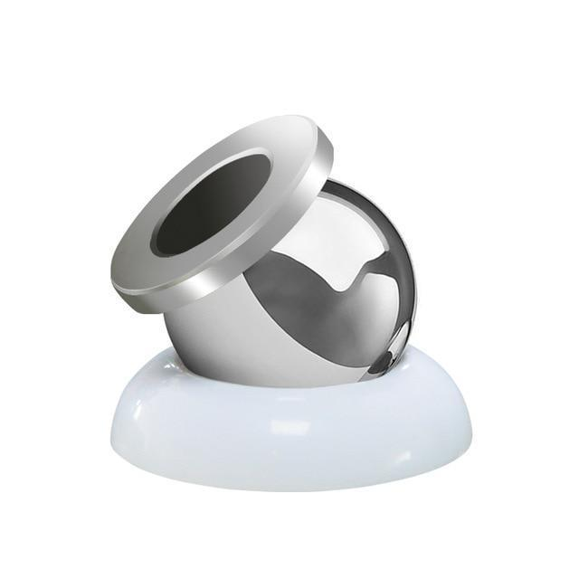360 Degree Magnetic Phone Holder Silver Black Top With White Base ClickClickShip.com