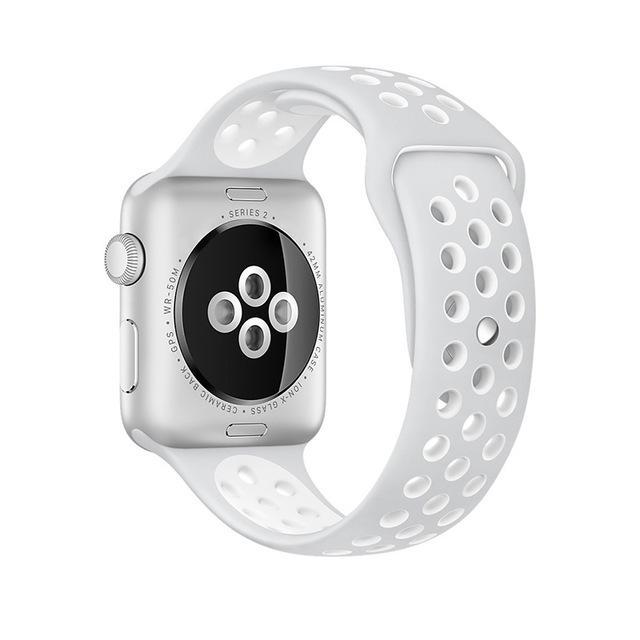 Sport Type Apple Watch Replacement Watch Strap for Apple Watch Bands Series 3 2 1 Silver White / 38mm SM ClickClickShip.com