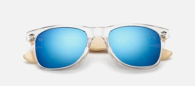 Unisex Wooden Sunglasses Transparent  blue ClickClickShip.com