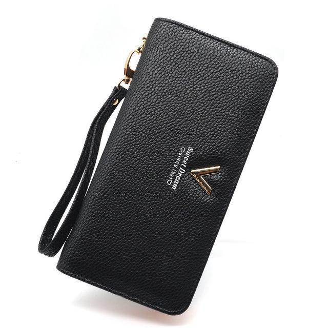 Luxury Long Zipper Purse V Black ClickClickShip.com