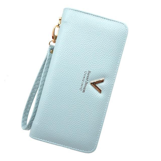 Luxury Long Zipper Purse V Blue ClickClickShip.com