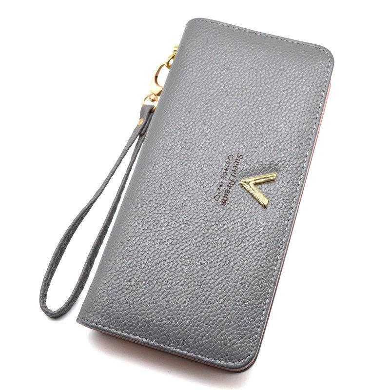 Luxury Long Zipper Purse V Gray ClickClickShip.com
