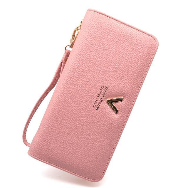 Luxury Long Zipper Purse V Pink ClickClickShip.com
