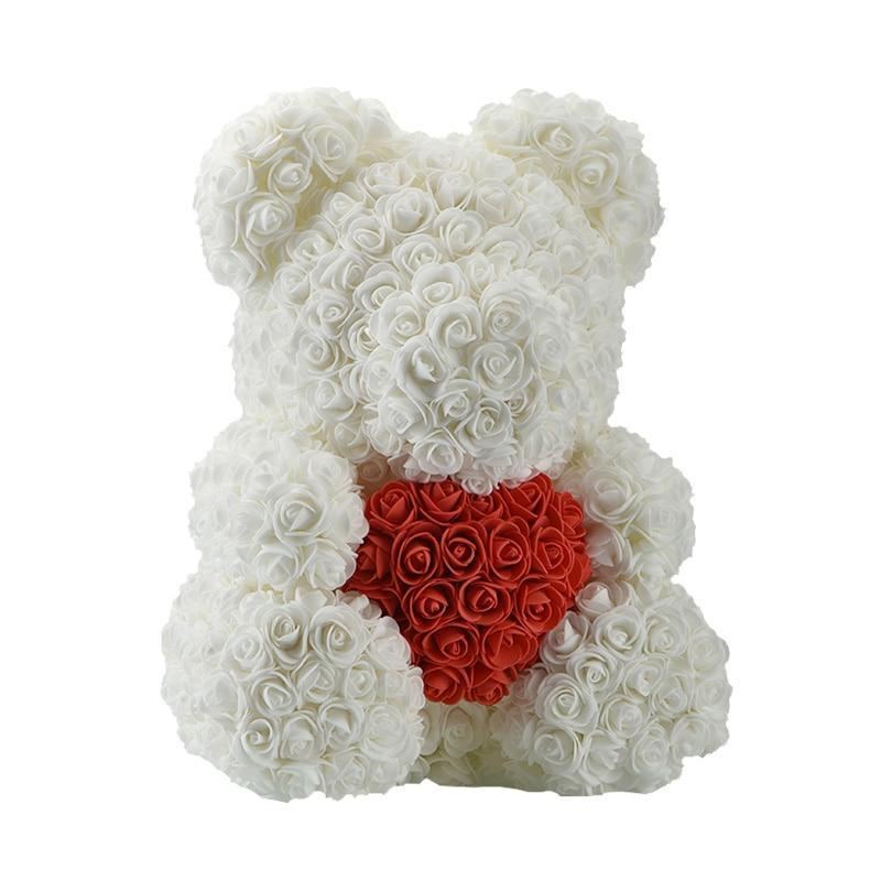 Rose Teddy Bear White Bear Red Heart Large (40cm x 30cm) ClickClickShip.com