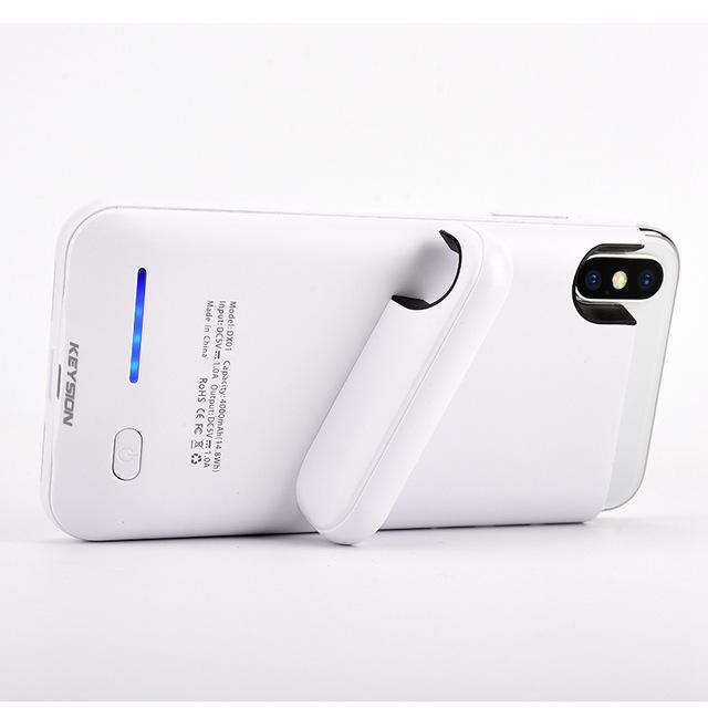 iPhone X Portable Charging Case With Stand White ClickClickShip.com