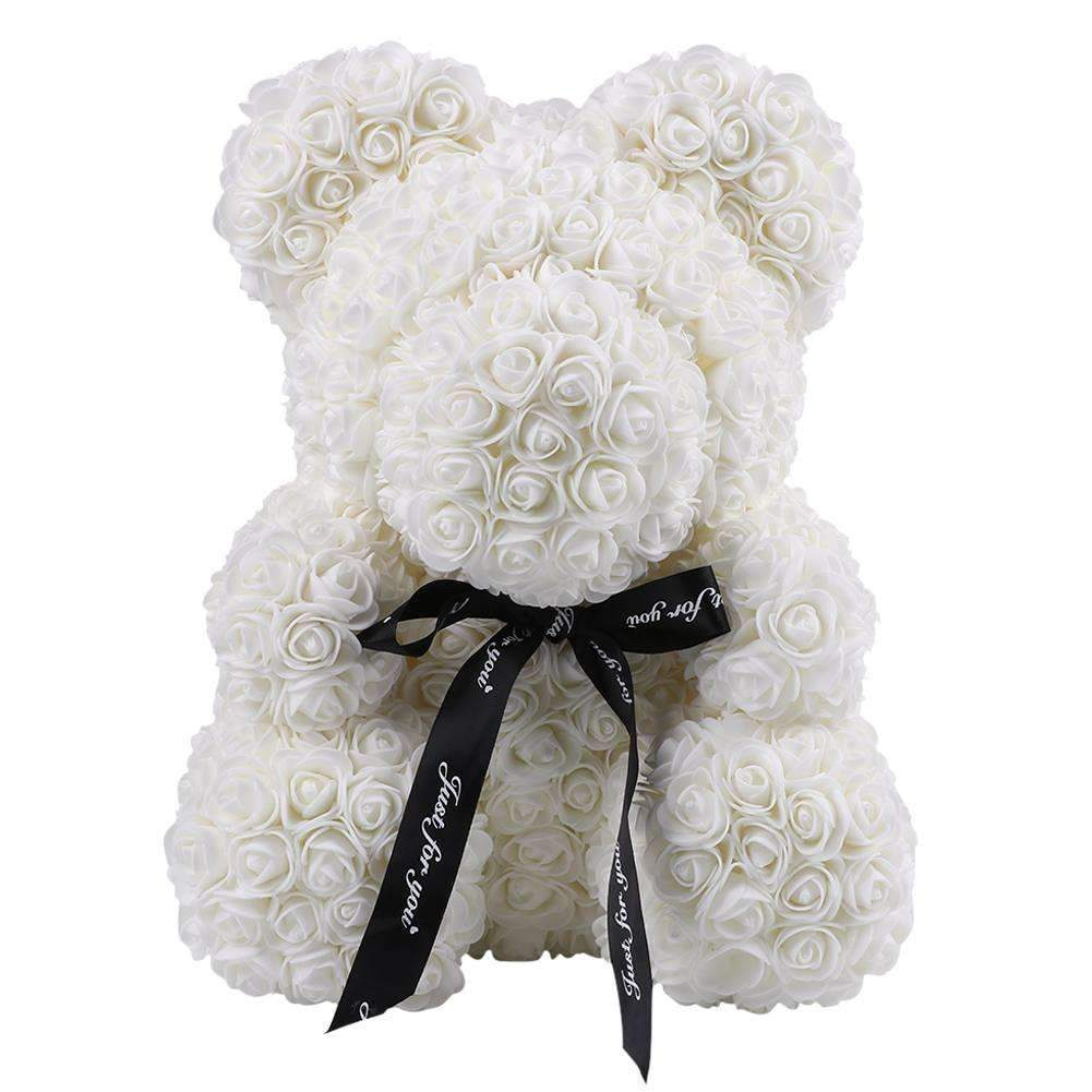 Rose Teddy Bear White Large (40cm x 30cm) ClickClickShip.com
