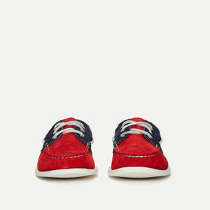 Downeast Boat Shoe - Navy / Red Suede