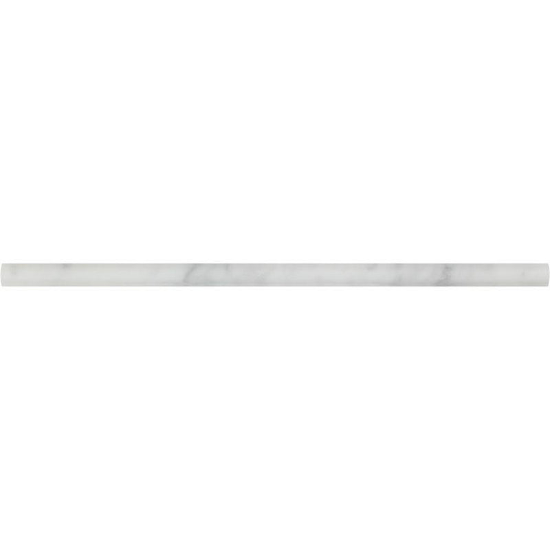 Carrara White Italian Carrera Marble 1/2 x 12 Pencil Liner Trim Molding Sample - Budget Marble