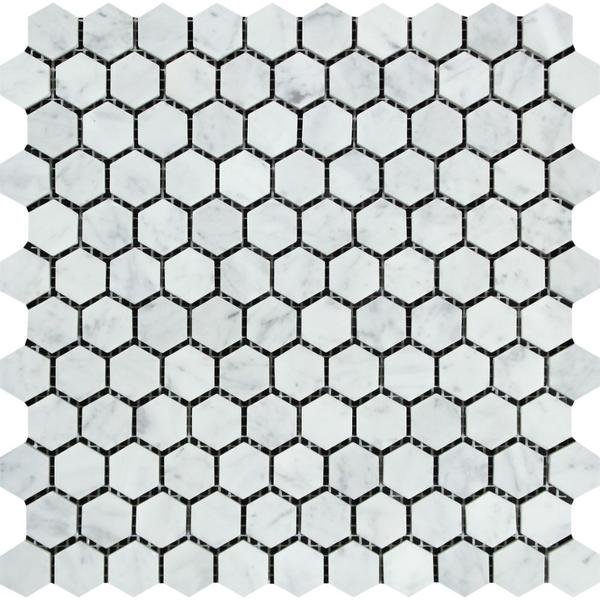 Carrara White Italian Carrera Marble 1 Inch Hexagon Mosaic Tile Sample - Budget Marble