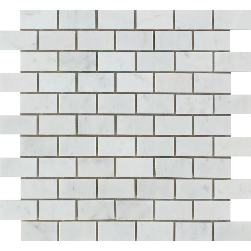 Carrara (Carrera) White Marble 1 X 2 Subway Brick Mosaic Tile Sample - Budget Marble
