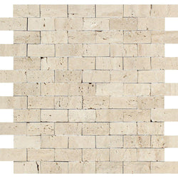 Ivory Travertine 1x2 Split Faced Brick Mosaic Tile - Budget Marble