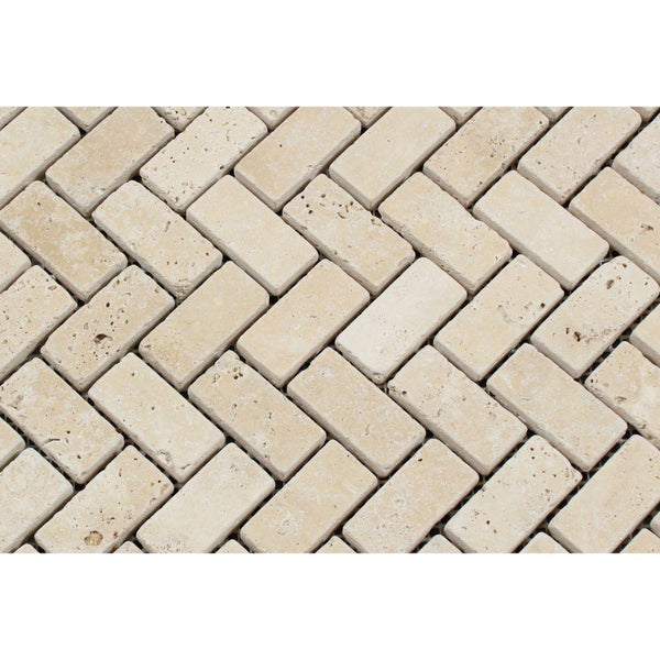 Ivory Travertine 1x2 Herringbone Tumbled Mosaic Tile - Budget Marble