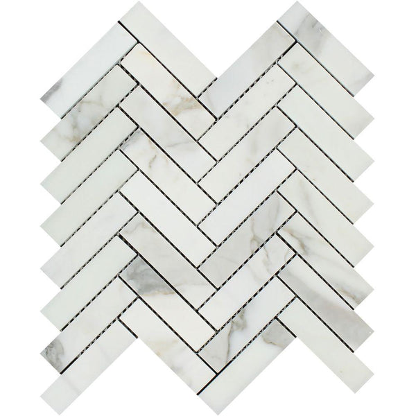 Calacatta Gold (Calcutta) Marble Honed 1 X 4 Herringbone Mosaic Tile Sample