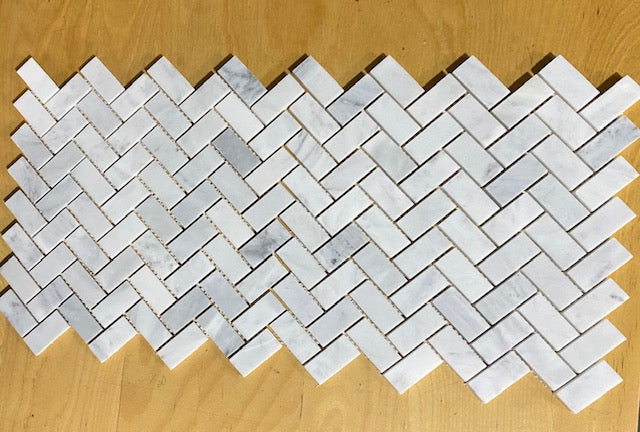 Carrara White 1x2 Herringbone Mosaic Tile - Marble from Italy