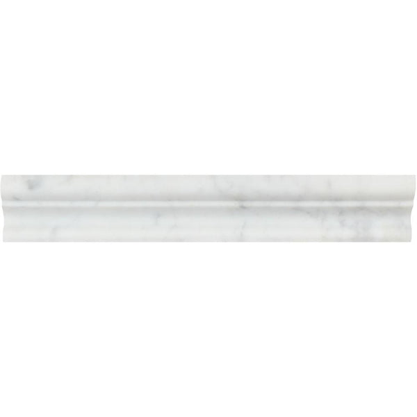 Carrara White Italian Carrera Marble Crown Mercer Chair Rail Molding Trim - Budget Marble