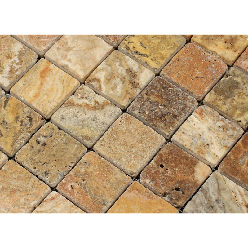 Scabos Travertine 2x2 Tumbled Square Mosaic Tile Sample - Budget Marble