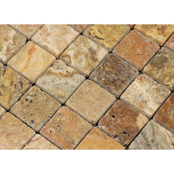 Scabos Travertine 2x2 Tumbled Square Mosaic Tile - Budget Marble