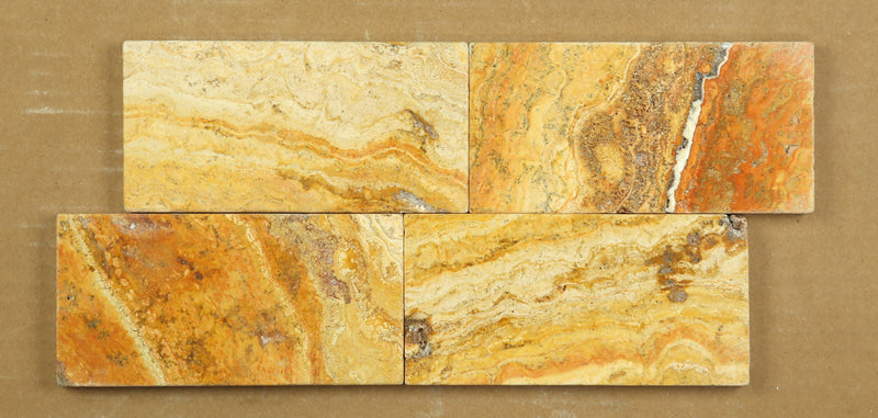 Scabos Travertine 3x6 Tumbled Subway Brick Tile Sample - Budget Marble