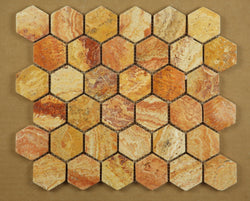 Scabos Travertine Tumbled 2 Inch Hexagon Mosaic Tile - Budget Marble