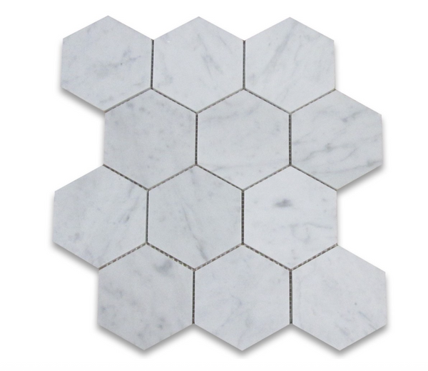 Carrara (Carrera) White Marble 4 Inch Hexagon Mosaic Tile