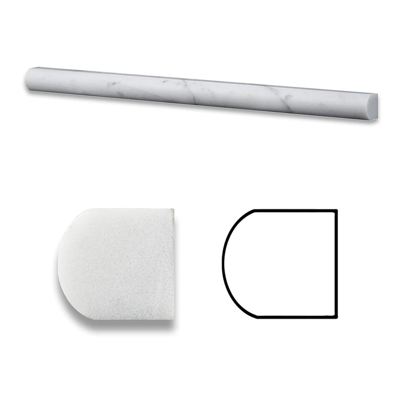 Carrara White Italian Carrera Marble 3/4 x 12 Bullnose Pencil Liner Edge Trim Piece Molding Sample
