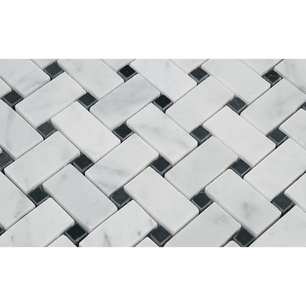 Carrara White Italian Carrera Marble Basketweave Mosaic Tile with Black Dots - Budget Marble