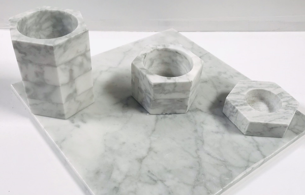 Carrara White Marble Set of Candle Holders - Budget Marble