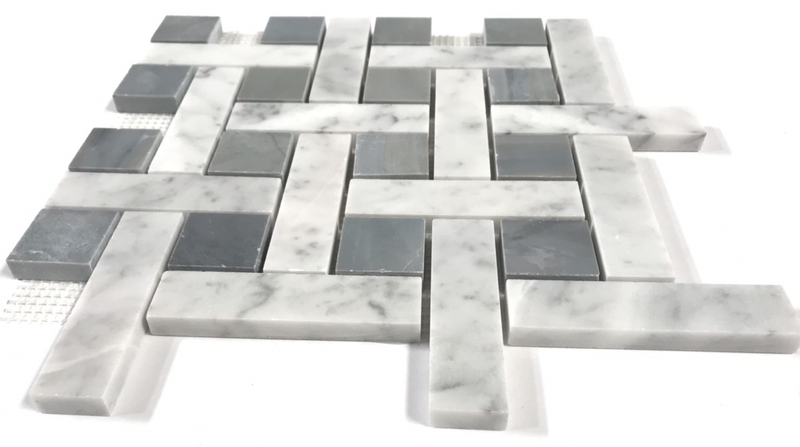 Carrara Marble 1/4 Basketweave Mosaic Tile with BIG Grey Dots - Budget Marble