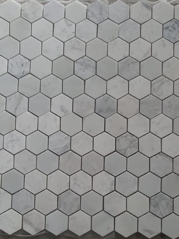 Carrara (Carrera) White Marble 2 Inch 2X2 Hexagon Polished Mosaic Tile Sample - Budget Marble
