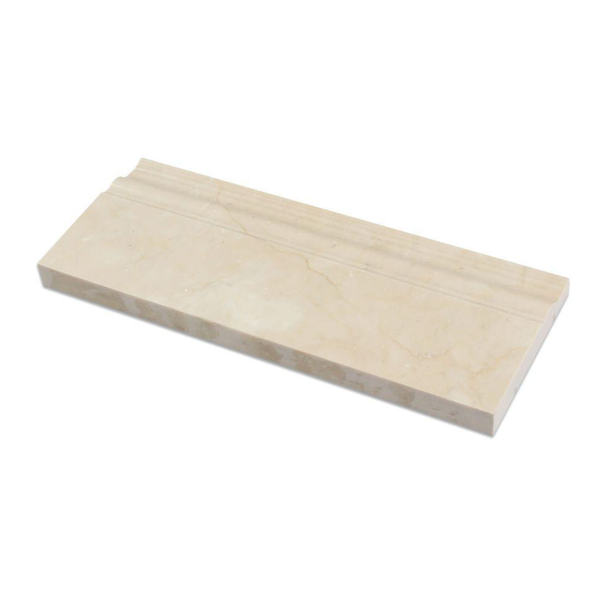 Crema Marfil Marble 5x12 Baseboard Trim Molding - Badget Marble