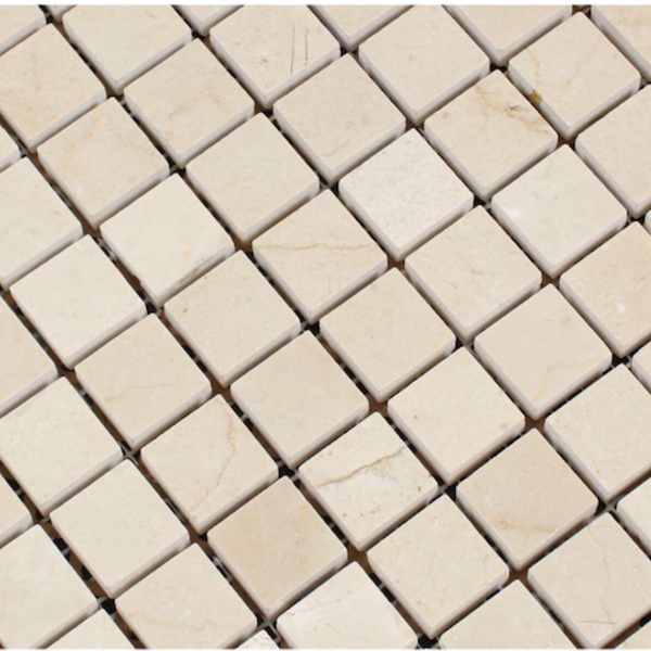 Crema Marfil Marble 1x1 Square Mosaic Tile - Budget Marble