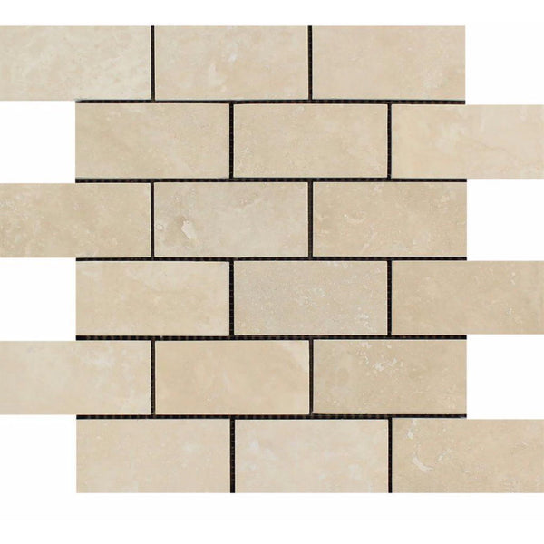 Ivory Light Travertine 2x4 Honed Brick Mosaic Tile Budget Marble