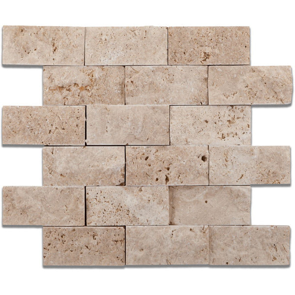 Ivory Light Travertine 2x4 Split-Faced Brick Mosaic Tile Budget Marble