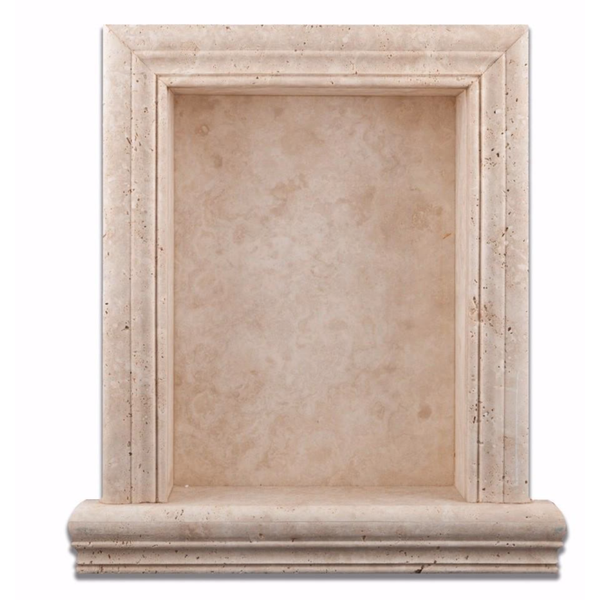 Ivory Light Travertine Hand-Made Custom Shampoo Niche / Shelf LARGE - Badget Marble